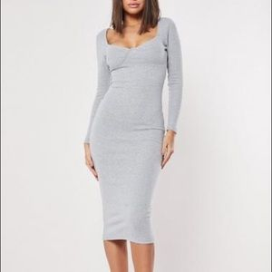 Missguided Gray Ribbed Bodycon Dress